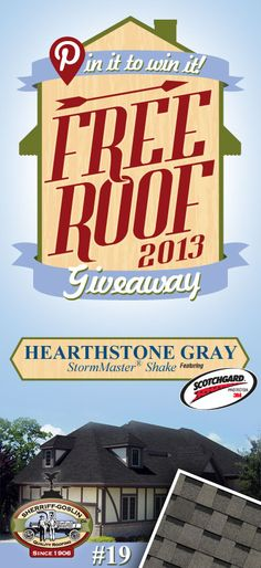 Re-pin this gorgeous StormMaster Shake Hearthstone Gray Shingle for your chance to win in the Sherriff-Goslin Pin It To Win It FREE ROOF Giveaway. Available in Sherriff-Goslin service area only. Re-pin weekly for more chances to win! | Stay Updated! Click the following link to receive contest updates. http://www.sherriffgoslin.com/repin Learn More about this shingle here: http://www.sherriffgoslin.com/tabbed.php?section_url=142