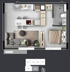 Studio Apartment Floor Plans, Studio Apartment Layout, Studio Layout, Small Apartment Plans, Small Apartment Layout, Small House Plans, House Floor Plans, Mini Loft, Appartement Design