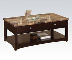 Jas Espresso Faux Marble Wood Coffee Table w/Lift Top
