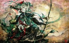 Anime Girls Archers Arrows Bandages Bow Weapon Dress Flowers Hair Band Hair Ornaments Japanese Clothes Katana Konpaku Youmu Sarashi Short Hair Swords Touhou Traditional Dressing Video Games Weapons White Hair