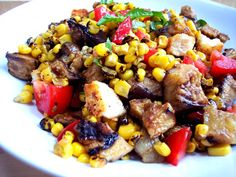 Grill Up Some Eggplant This Weekend - Proud Italian Cook:  eggplant, tomatoes, bread cubes, fresh basil, corn, olive oil