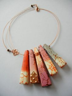 """Dusk and Dawn"" - polymer clay necklace by Sonya Girodon."