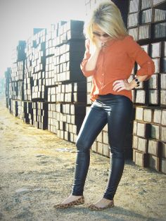 Orange blouse, leather skinnies and leopard flats - Stylin' Mommies