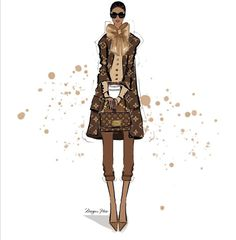 Megan Hess Illustration, Illustration Mode, Louis Vuitton Iphone Wallpaper, Kerrie Hess, Luxury Girl, Collage, Brown Aesthetic, Fashion Sketches, Fashion Illustrations