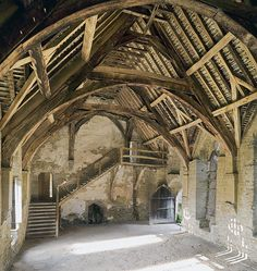 Interior of the hall at Stokesay Castle, built by Laurence of Ludlow
