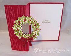 Cherry Cobbler Wondrous Wreath Flip Card, Stamp & Scrap with Frenchie
