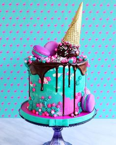 Alles Gute zum Geburtstag wünscht die tolle Boho Style Feile und ihre schöne Schwester - Todo Lo Que Necesitas Saber Para La Fiesta Pretty Cakes, Cute Cakes, Beautiful Cakes, Amazing Cakes, Yummy Cakes, Bolo Tumblr, Bolo Cake, Cute Desserts, Ice Cream Party