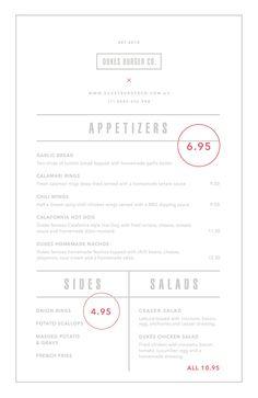 Price overlay on menu  Studio 361 // Dukes Burger Co. on Behance