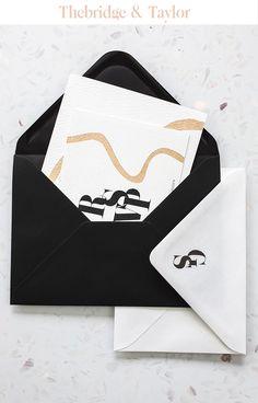 Thebridge & Taylor l Luxury Custom Wedding Stationery Wedding Invitations Elegant Modern, Ivory Wedding Invitations, Black And White Wedding Invitations, Wedding Black, Gold Wedding, Black Tie, Envelope, Wedding Trends, Winter