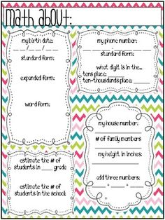 Math About Me - Place Value Review  Freebie - Back to school