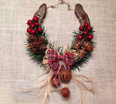 Rustic Woodland Lucky Sole, authentic horseshoe decorated with woodland goodies...acorns, pine cones, tartan and raffia bow and finished with