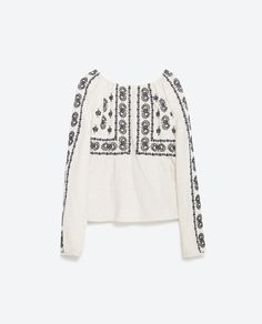 CONTRASTING EMBROIDERY TOP - View all - Tops - WOMAN | ZARA United States