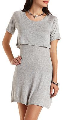 $13, Grey Skater Dress: Charlotte Russe Layered T Shirt Skater Dress. Sold by Charlotte Russe. Click for more info: http://lookastic.com/women/shop_items/145954/redirect