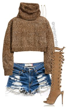 """Sweater x Cutoffs"" by highfashionfiles ❤ liked on Polyvore featuring Levi's, H&M, Giuseppe Zanotti and Dean Harris"