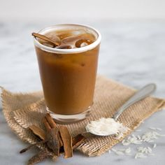 Iced Horchata Latte. Dairy-free, soy-free, and nut-free. A great summer alternative to your usual latte.