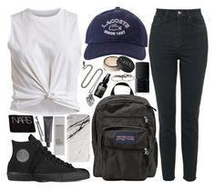 """""""one for the road"""" by velvet-ears ❤ liked on Polyvore featuring Lacoste, JanSport, VILA, Topshop, Pamela Love, Converse, NARS Cosmetics, Case Scenario, Korres and Bite"""
