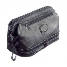 Men s holdall wash bag in genuine black leather from Danielle Creations. A  structured frame fastening and zip off bottom compartment makes for plenty  of ... 1439ec74075ab