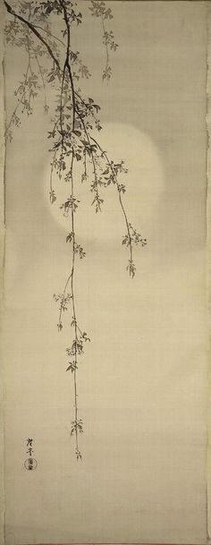 Cherry Blossoms and Moon   Terasaki Kôgyô  Japanese about 1890–1910,  Image: 46 3/4 x 18 3/16 in.  Unmounted; ink and light color on silk  Museum of Fine Arts, Boston