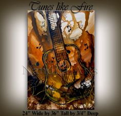 Music Art Tunes like Fire GUITAR MUSIC ART Painting by artgallerys, $379.00