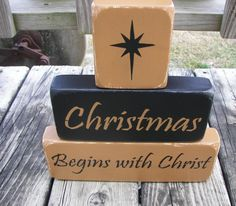 Christmas Begins With Christ Primitive Wood by KettmanWoodCrafts. , via Etsy.
