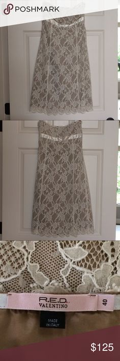 Red Valentino lace dress size 40 Strapless dress size 40, so US 4-6. In excellent condition! It has a ivory lace over a tan background layer. So cute! RED Valentino Dresses