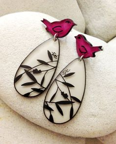 Pink Birds and Branches - Handmade three dimensional painted whimsical earrings. $18.00, via Etsy.