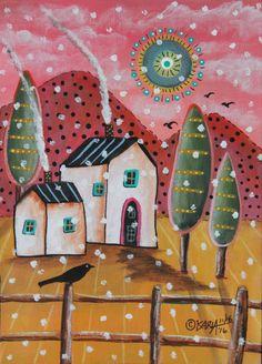 Fluffy Snow ORIGINAL Canvas Panel PAINTING Folk Art SNOW 5 x 7 Karla Gerard #FolkArtAbstractPrimitive