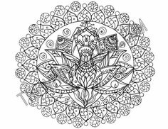 Hand Drawn Adult Coloring Page Print A Lotus by WhirlingArt