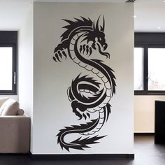 Tribal Tattoo Chinese Dragon Wall Decal Sticker Decor Wall Art Vinyl Mural #Oracal #FantasyMythology