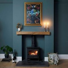 Navy Living Rooms, Living Tv, My Living Room, Home And Living, Dark Blue Living Room, Cottage Living Rooms, Log Burner Living Room, Living Room Decor Fireplace, Home Fireplace