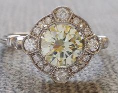 Estate Halo Moraganite Diamond Antique Engagement by PenelliBelle