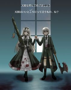 Hansel and gretel black lagoon-when i saw episode 15-16 these twins are fucking crazy. but personally they became one of my favorite antagonists in the anime world. It gave me the chills when i heard about their background. i pity them.