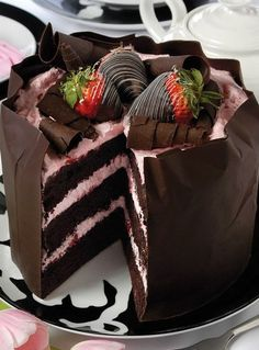 Strawberry chocolate cake!