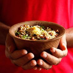 Bhel puri. 'Bombay street food'. An Indian snack made from puffed rice, vegetables and tamarind sauce.