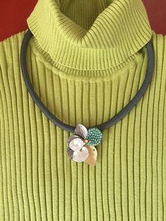 Fine Silver Floral Pendant/Brooch Necklace by mypurplebasket