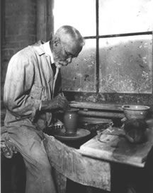Charles Fergus Binns throwing on the potter's wheel. Known as the father of American studio ceramics, Binns contributed vital information about clay bodies and glaze recipes to the lay person, laying the foundation for the studio ceramics movement in the U.S. that began in the early 1900's.