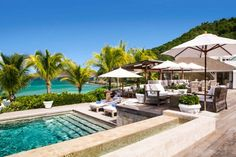 The pool at the Cheval Blanc St-Barth Isle de France hotel has views of the Baie des Flamands.