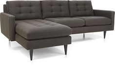 Common area // love the color & would tie in with kitchen backslpash tile // Petrie Sectional Sofa - Tranquil Tufted Sectional, 2 Piece Sectional Sofa, Modern Sectional, Couch, Crate And Barrel Sectional, Sofa Dimension, Mid Century Modern Sofa, New Living Room, Sofa Furniture