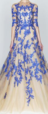 Monique L'Huillier dress in blue and white. Thought of @nikki striefler striefler Marie