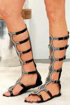 Rebels Velocity Black Leather Tall Beaded Gladiator Sandals at Lulus.com!