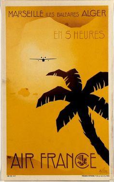 Vintage Airline Poster ... Air France...