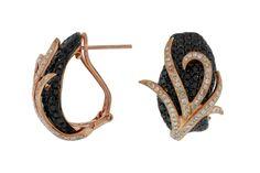 Ladies Diamond & Black Diamond Earring in 14K Rose Gold (TCW 4.70).