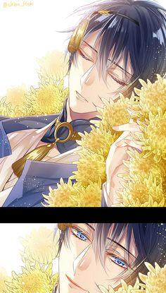 Pixiv Id 2714025, Touken Ranbu, Mikazuki Munechika, Yellow Flower, Bust, Detached Collar