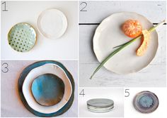 [Plates: 1. Stoneware mini plates by alluvial; 2. Minimalist plate by OneClayBead; 3. Handmade wedding plate set by christianesutherland;4. Organic entree plate by urbancartel; 5. Zen plate by NingChiao.]
