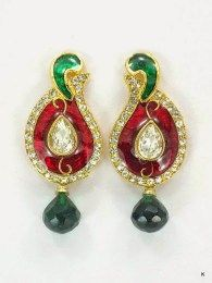 Gold Plated Peacock Style Earrings With Multi Color Stones