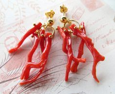 Torre del Greco red coral earrings Sterling Silver by Sofiasbijoux, Coral Earrings, Coral Jewelry, Beach Jewelry, Diy Earrings, Jewelry Art, Antique Jewelry, Coral Turquoise, Red Coral, Urban Jewelry
