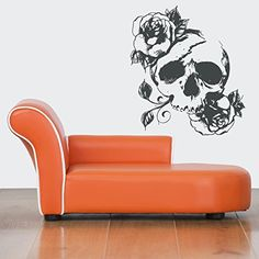 Wall Vinyl Sticker Decals Mural Room Design Scull Roses S...