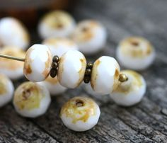 6x8mm Picasso Rondel beads White Czech glass donuts by MayaHoney