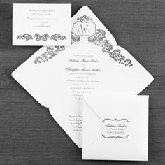 100 best black and white wedding invitations images on pinterest affordably inviting white square self mailer with floral design black and white wedding invitation filmwisefo