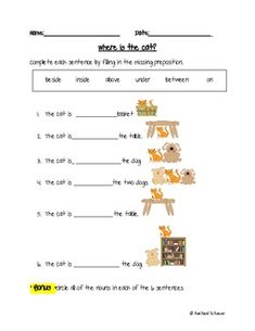 This freebie is a preposition worksheet using Level I and Level II prepositions from the Landmark Writing Curriculum. The students complete the sentences using a word bank with prepositions and pictures. English Grammar Quiz, English Grammar Worksheets, Grammar Lessons, English Vocabulary, Preposition Activities, Preschool Learning Activities, Prepositions Worksheets, Teaching Ideas, Energy Assessment